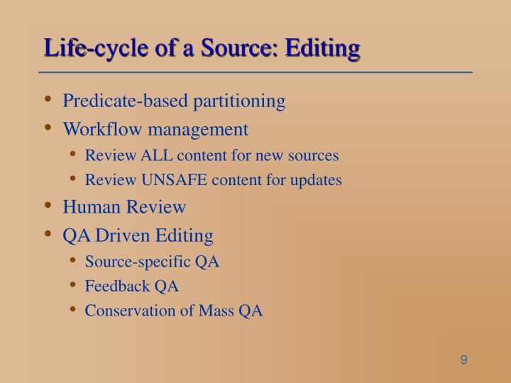Life-cycle of a Source: Editing