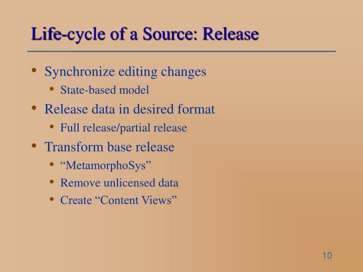 Life-cycle of a Source: Release