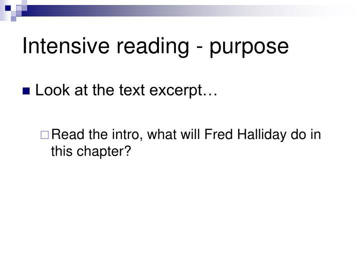 Intensive reading - purpose