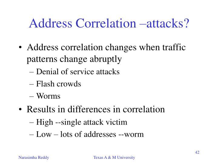 Address Correlation –attacks?