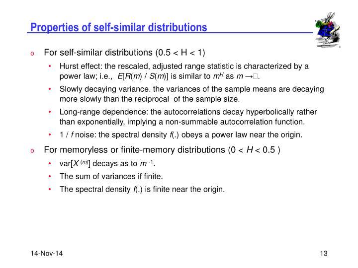 Properties of self-similar distributions