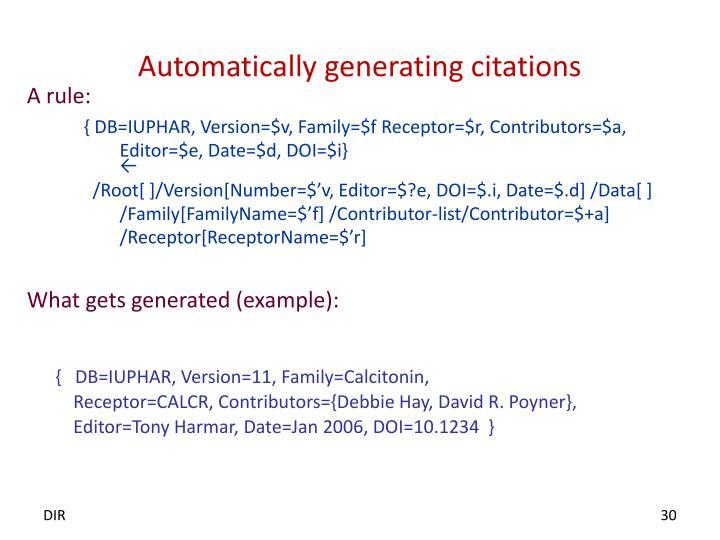 Automatically generating citations