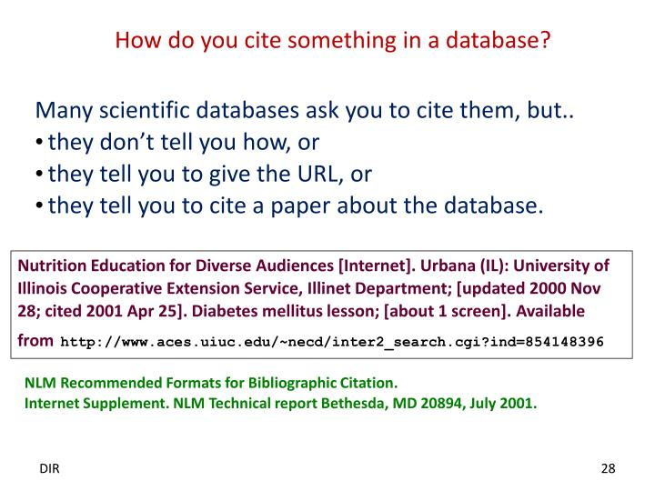 How do you cite something in a database?