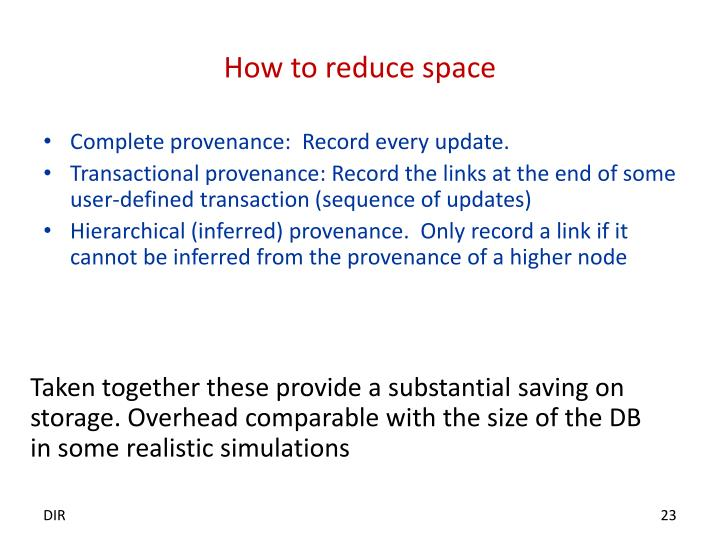 How to reduce space
