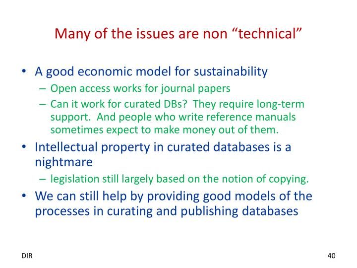 """Many of the issues are non """"technical"""""""