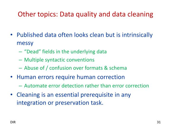 Other topics: Data