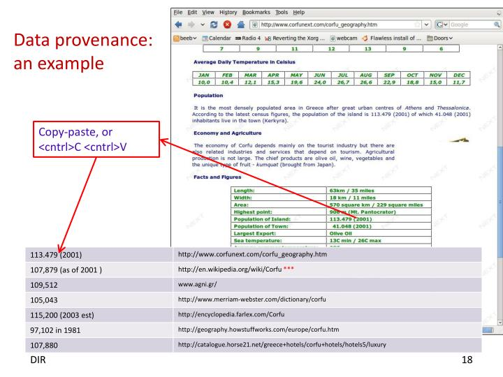 Data provenance: an example