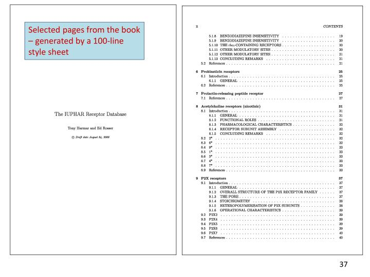 Selected pages from the book – generated by a 100-line style sheet