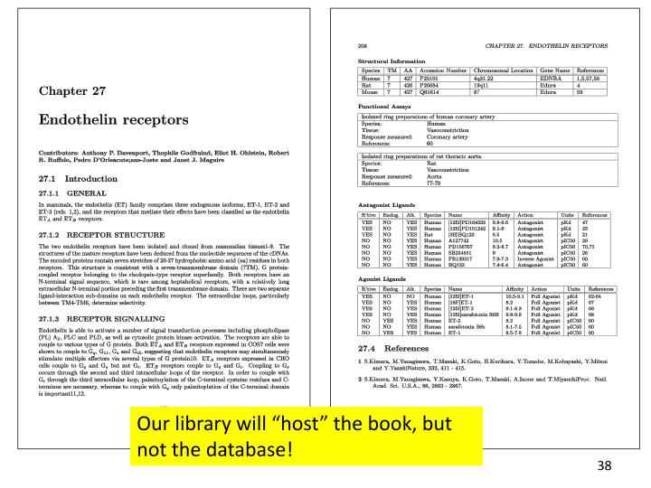 """Our library will """"host"""" the book, but not the database!"""