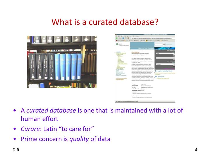 What is a curated database?