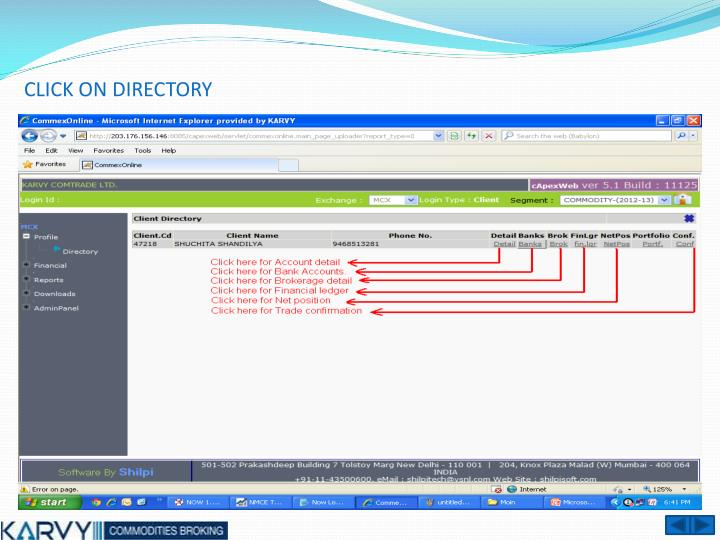 CLICK ON DIRECTORY