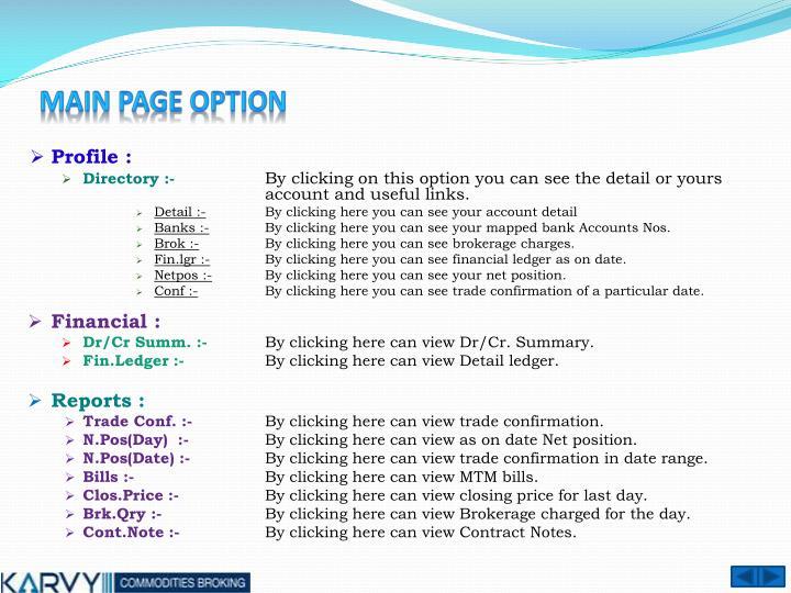 Main page option