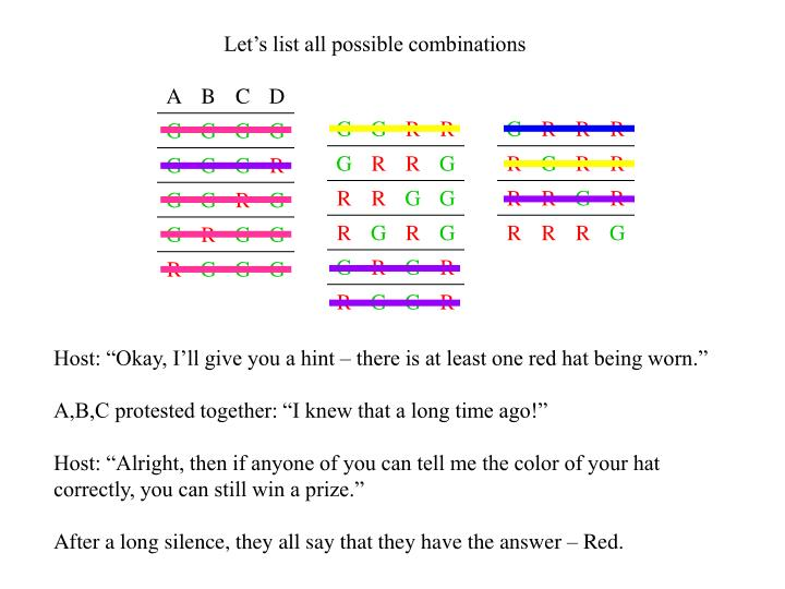 Let's list all possible combinations