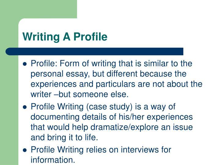 Writing a profile1