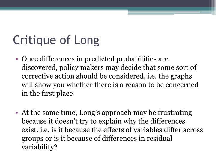 Critique of Long