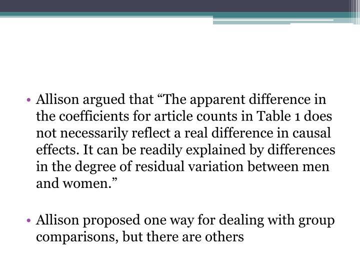Allison argued that