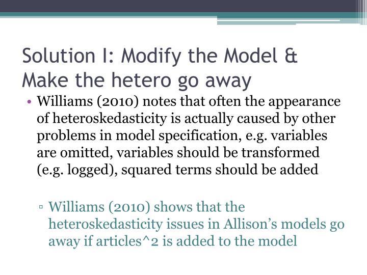 Solution I: Modify the Model & Make the hetero go away