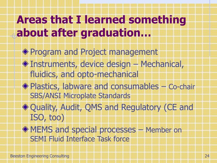 Areas that I learned something about after graduation…