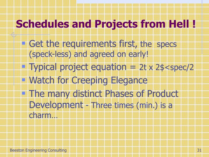 Schedules and Projects from Hell !