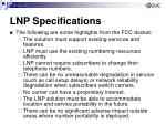 lnp specifications