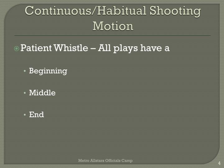 Continuous/Habitual Shooting Motion