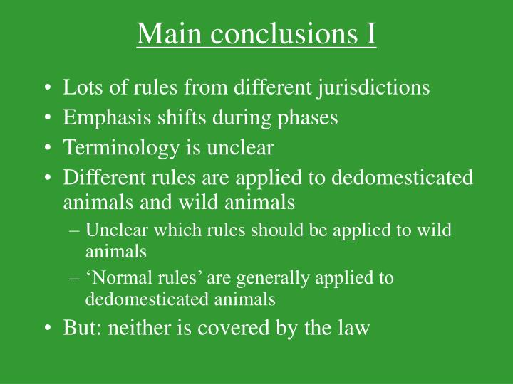 Main conclusions I