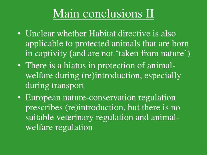 Main conclusions II