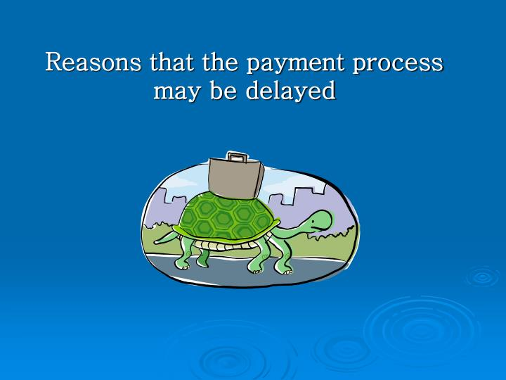 Reasons that the payment process may be delayed