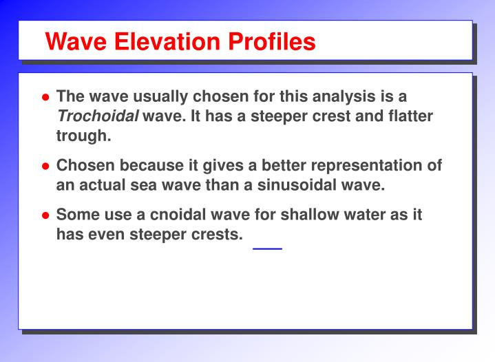 Wave Elevation Profiles