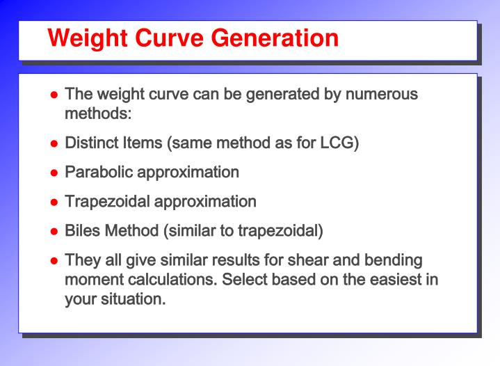 Weight Curve Generation