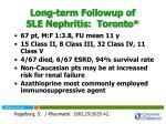 long term followup of sle nephritis toronto