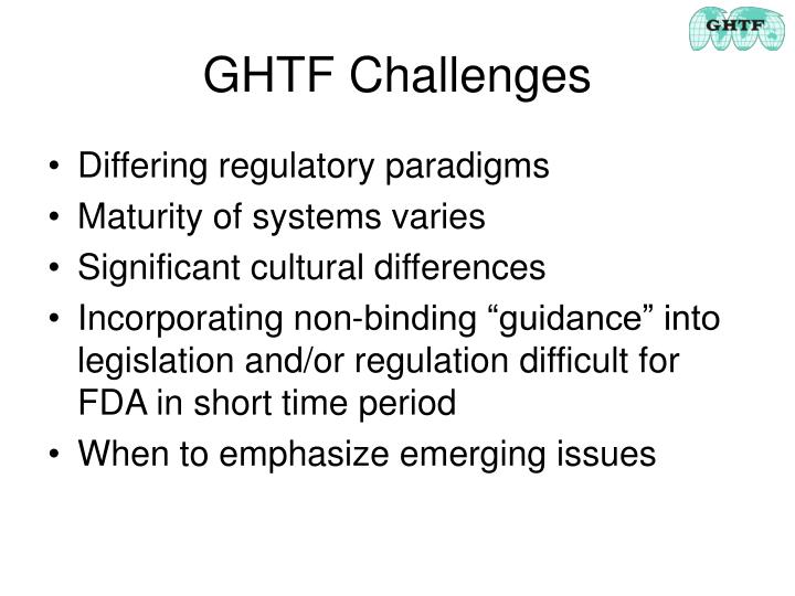 Ghtf challenges