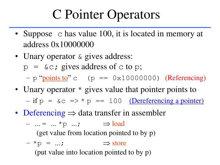 C Pointer Operators