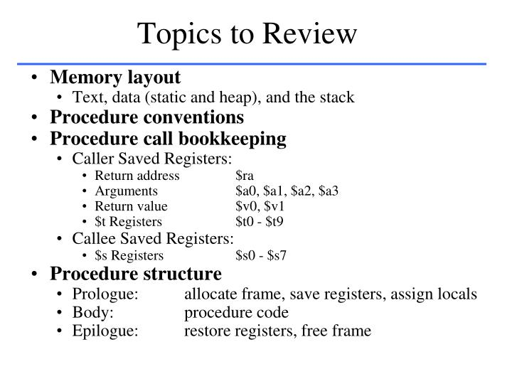 Topics to review