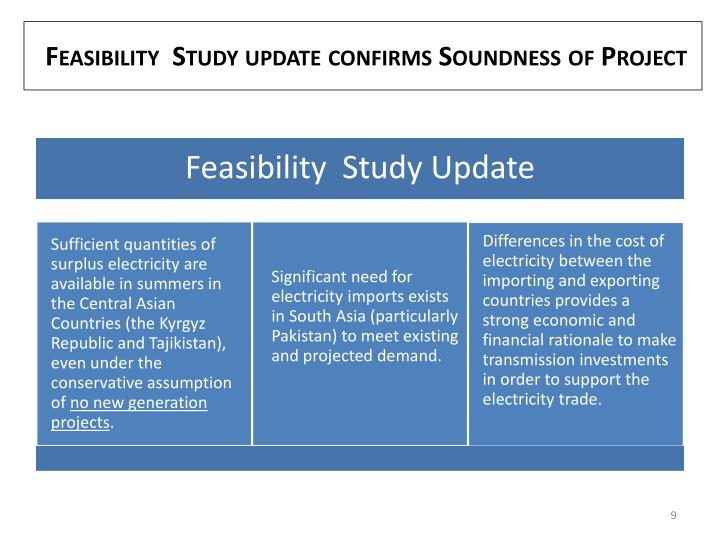 Feasibility  Study update confirms Soundness of Project