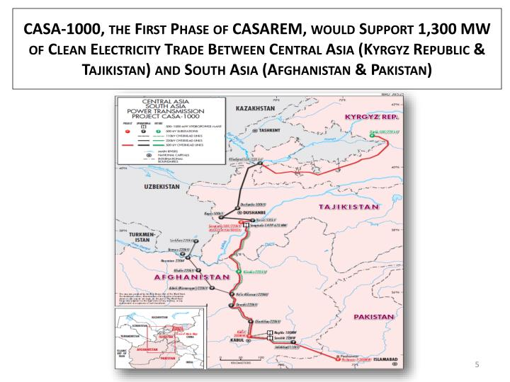 CASA-1000, the First Phase of CASAREM, would Support 1,300 MW of Clean Electricity Trade Between Central Asia (Kyrgyz Republic & Tajikistan) and South Asia (Afghanistan & Pakistan)