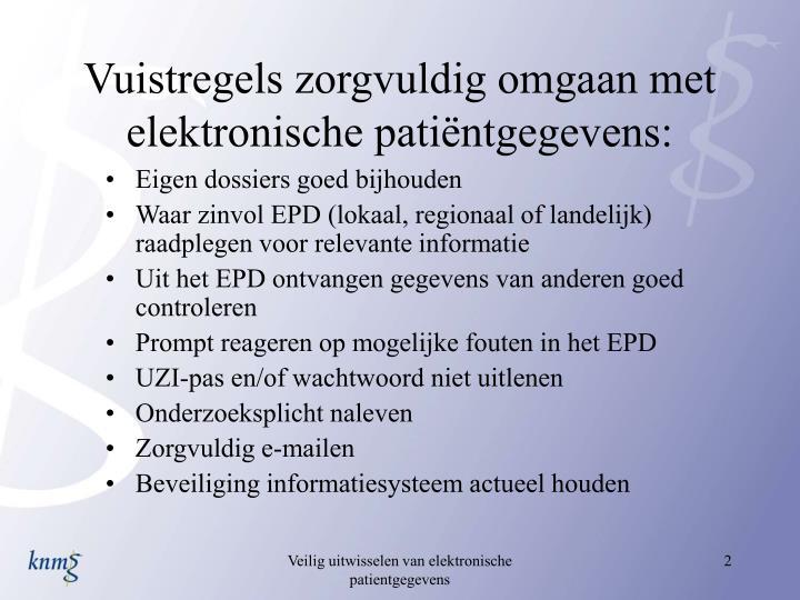 Vuistregels zorgvuldig omgaan met elektronische pati ntgegevens