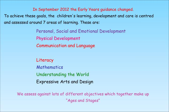 In September 2012 the Early Years guidance changed.