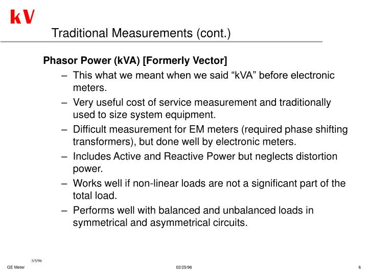 Traditional Measurements (cont.)