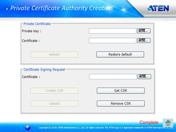 Private Certificate Authority Creation