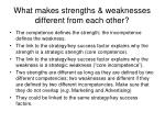 what makes strengths weaknesses different from each other