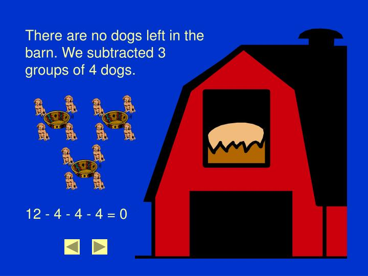 There are no dogs left in the barn. We subtracted 3 groups of 4 dogs.