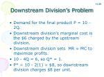 downstream division s problem
