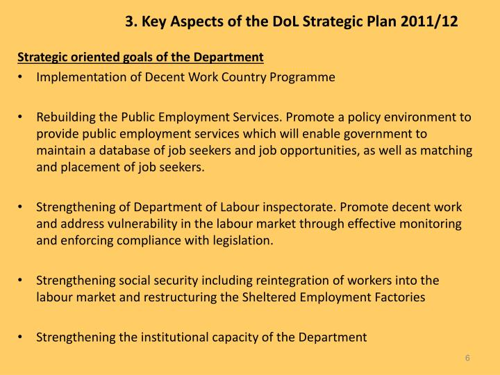 3. Key Aspects of the DoL Strategic Plan 2011/12