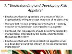 7 understanding and developing risk appetite