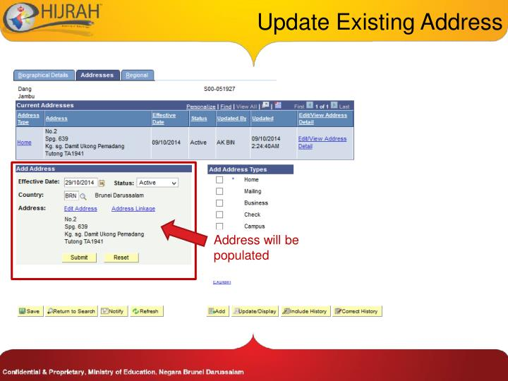 Update Existing Address