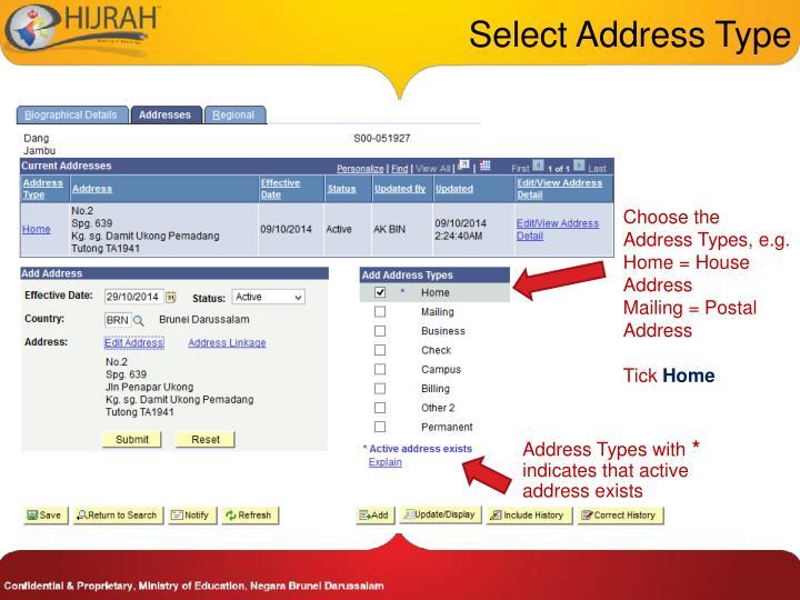 Select Address Type