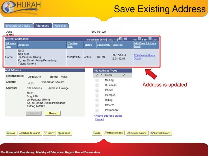 Save Existing Address