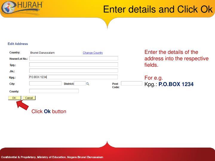 Enter details and Click Ok
