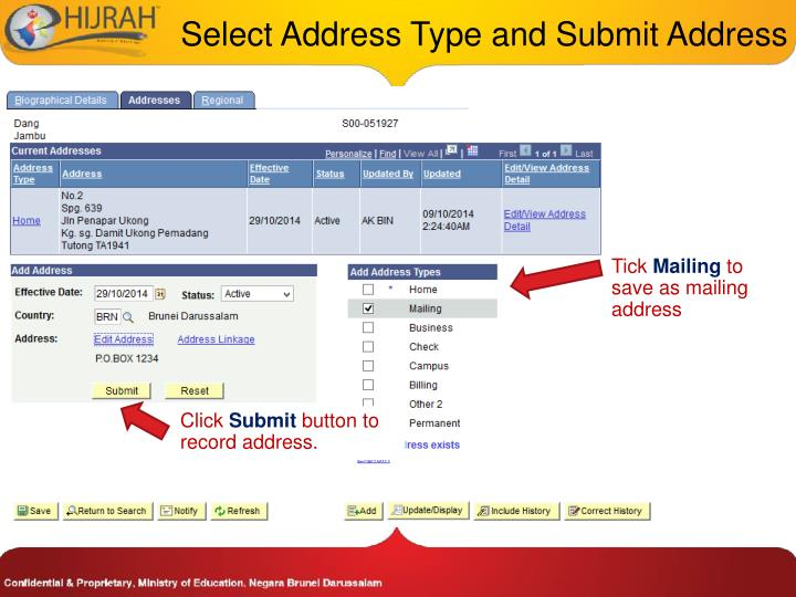 Select Address Type and Submit Address